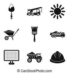 стиль, icons, задавать, просто, строительство, машины