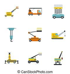 стиль, icons, задавать, строительство, машины, мультфильм