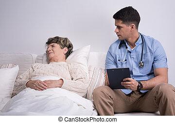 страдающий, пациент, подопечный, гериатрический