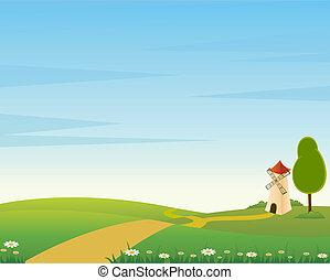 страна, дорога, мил, пейзаж