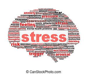 стресс, концепция, символ, белый, isolated