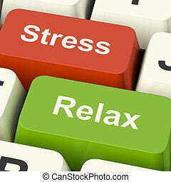 стресс, расслабиться, keys, работа, давление, компьютер, онлайн, или, релаксация, shows