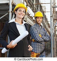 строительство, архитектор, работник