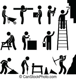 строительство, жесткий, за работой, труда