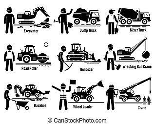 строительство, задавать, vehicles