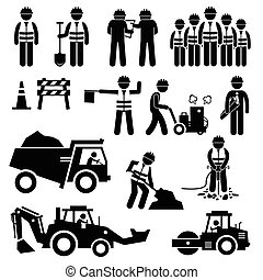 строительство, работник, дорога