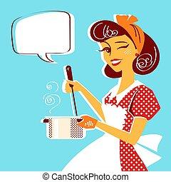 суп, молодой, портрет, готовка, домохозяйка