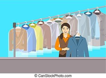 сухой, магазин, азиатский, девушка, уборка, прием