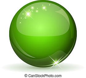 сфера, зеленый, whi, глянцевый, isolated