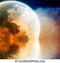 сфера, пылающий, фантастика, небо