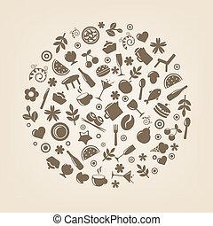 сфера, ресторан, форма, icons
