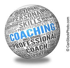 сфера, coaching, концепция, тег, облако