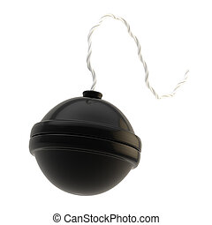 сферический, белый, бомбить, isolated