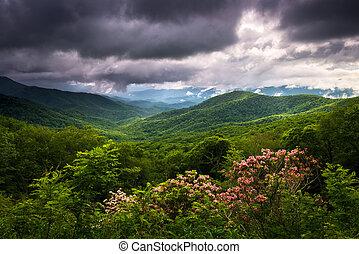сценический, север, автострада, хребет, весна, синий, фотография, аппалачи, каролина, mountains, пейзаж