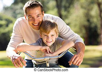 счастливый, велосипед, отец, сын