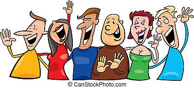 счастливый, группа, люди