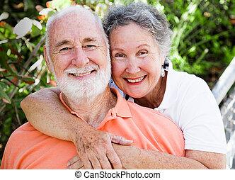 счастливый, здоровый, пара, старшая