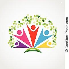 счастливый, люди, логотип, дерево, командная работа