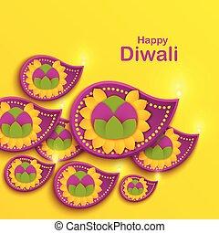 счастливый, оформление, день отдыха, poster., индийский, flower., diya, фестиваль, дивали, лампа, house., swanti, ремесло, tihar., бумага, оригами, ноготки, баннер, сикх, rangoli