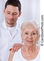счастливый, пациент, гериатрический