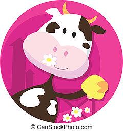счастливый, персонаж, корова, колокол