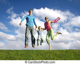счастливый, семья, летать