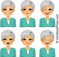 счастливый, старшая, женщина, expressions, лицо