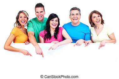 счастливый, banner., группа, люди