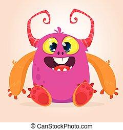 счастливый, eyes., монстр, розовый, иллюстрация, немного, вектор, большой, крошечный