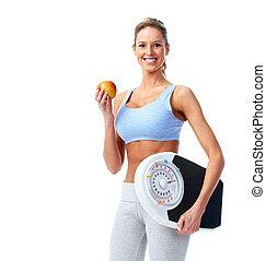 счастливый, scales., женщина, фитнес