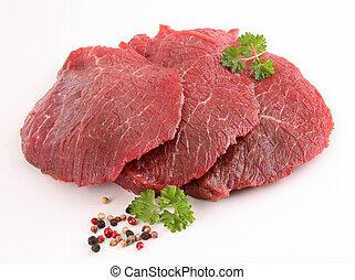сырье, isolated, говядина, мясо