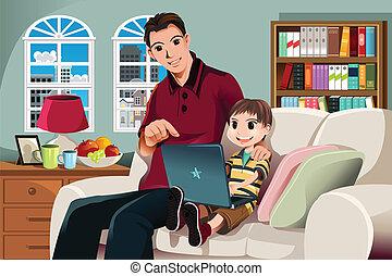с помощью, компьютер, отец, сын