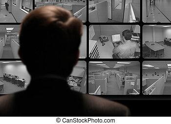 с помощью, монитор, наблюдение, работа, видео, наемный рабочий, closed-circuit, человек