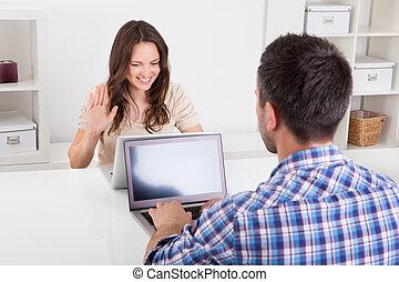 с помощью, пара, портативный компьютер