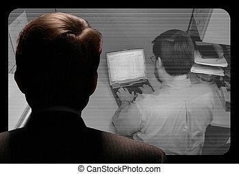 с помощью, работа, камера, видео, наемный рабочий, observing, человек