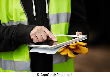 с помощью, строительство, работник, таблетка, цифровой