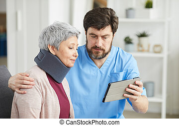 с помощью, pc, врач, пациент, таблетка