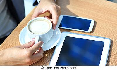 таблетка, успех, workflow, мобильный, concept., современное, бизнесмен, компьютер, phone., цифровой, новый, с помощью, технологии