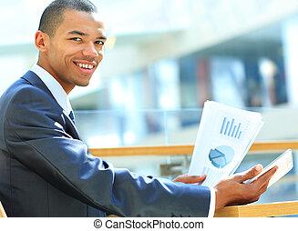 таблетка, успех, workflow, concept., цифровой, бизнесмен, компьютер, новый, с помощью, documents., технологии