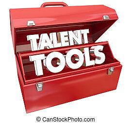 талант, оказывать, навыки, иллюстрация, способствовать, ящик для инструментов, образование, инструменты, 3d