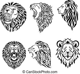 талисман, логотип, большой, лицо, задавать, лев