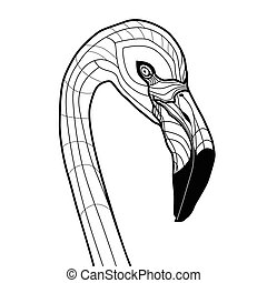 тату, глава, фламинго, isolated, иллюстрация, вектор, дизайн, задний план, белый, эскиз, птица, t-shirts