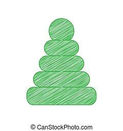 твердый, пирамида, белый, знак, мазня, background., зеленый, illustration., contour, значок