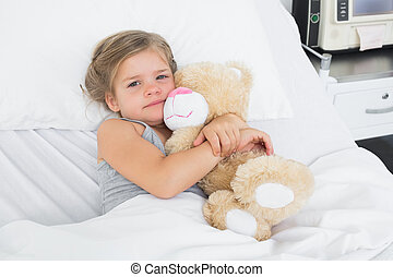 тедди, девушка, медведь, милый, embracing, больница, постель