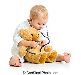 тедди, над, врач, медведь, ребенок, белый, adorable, одежда