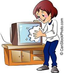 телевидение, женщина, set., wiping, вектор, пыли