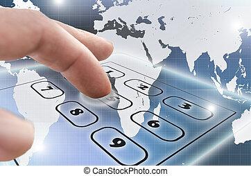 телефон, виртуальный, клавиатура, navigating