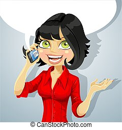 телефон, девушка, брюнетка, talking