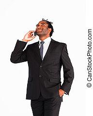 телефон, afro-american, talking, бизнесмен