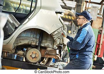 тело, ремонт, автомобиль, металл, расплющить, авто, человек